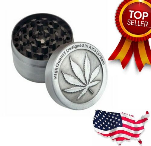 4Piece Herbal Alloy Smoke Metal Chromium Crusher Tobacco Herb Spice Grinder