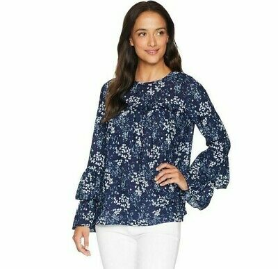New $88 Michael Kors Scatter Blooms Tier Sleeve Top Blouse Shirt Navy Blue PS Tier-sleeve