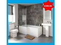 L shaped shower bathroom suite