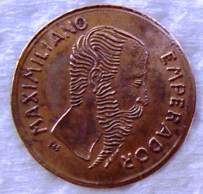 MEXICO 1865 Gold Coin Maximiliano  RARE EXTRA FINE TOKEN
