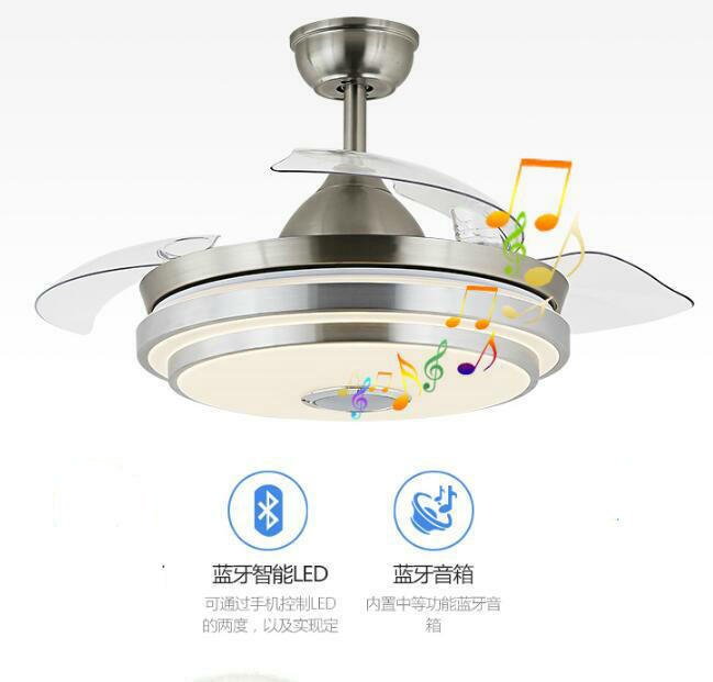 """36""""/42"""" Bluetooth Invisible Ceiling Fans w/ LED Light Music"""