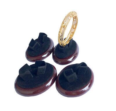 4-pack Black Velvet Mahogny Color Wood Base Bracelet Bangle Display Showcase