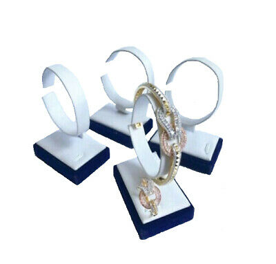 4pc White Leather Blue Velvet Base Watch Bracelet Bangle Jewelry Holder Display