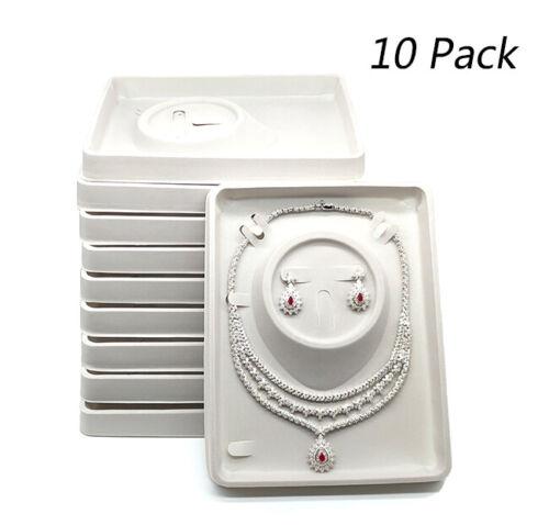 10pc Gray Velvet Plastic Earrings Necklace Showcase Jewelry Display Tray Holder