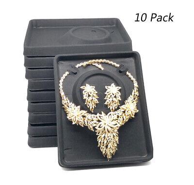 10pc Black Velvet Plastic Earrings Necklace Showcase Jewelry Display Tray Holder