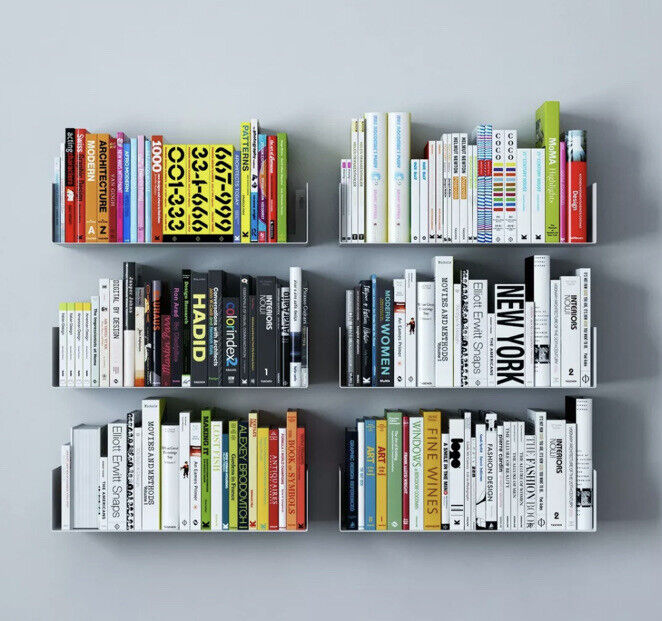 "Wallniture BALI Floating Shelves Wall Bookshelf  – 17"" – Set of 3 – White"