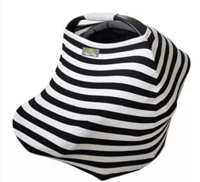 Itzy Ritzy Nursing Breastfeeding Car Seat Cover Scarf Black Striped Soft EUC
