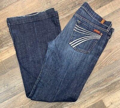 (7 Seven for all Mankind Dojo Denim Blue Jeans Wide Leg Flare Pants Size 29)