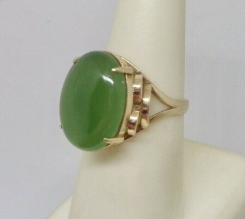 Chinese Vintage 10K Yellow Gold 16.5mm x 12.5mm Nephrite Jade Ring Size 6.5
