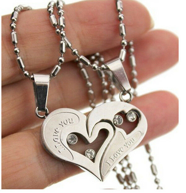 His and Hers Stainless Steel Silver Love Heart Men Women Couple Pendant Necklace Fashion Jewelry