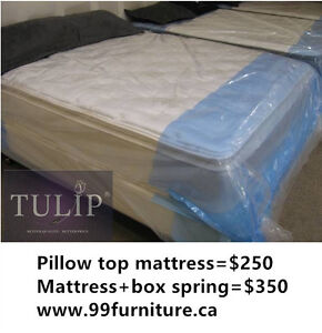 █♣█ECONO~EUROTOP MATTRESS+BOX IN QUEEN/FULL/S~TULIP BRAND NEW!