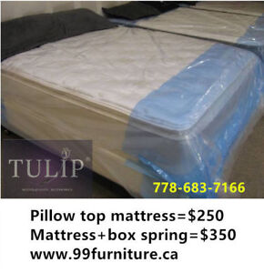 █♣█TULIP BRAND NEW~BOXSPRING+EUROTOP MATTRESS~TWO PIECES SET