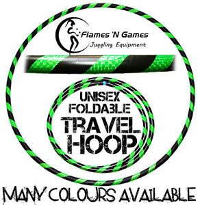 Travel-Hula-Hoop-Weighted-Fitness-Exercise-Adult-Hula-Hoops-Black-UV-Green