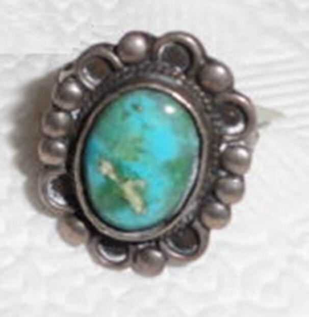 Navajo Natural Blue Gem Turquoise Ring 6.25 Fred Harvey Era Sterling Silver .925