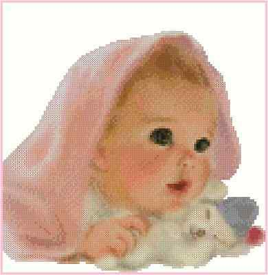 Baby Girl Under a Blanket Counted Cross Stitch Chart No.50-101