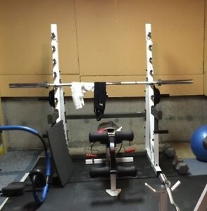 Commercial Half Power Rack w Safety Spotters + Adjustable Bench