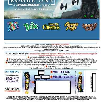 Five Movie Tickets [codes} good in 2017 for Disney/Marvel/Star Wars films