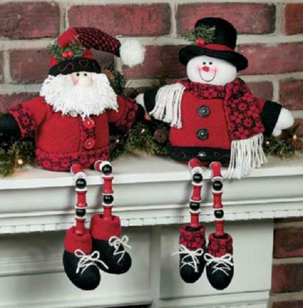 Dangle Leg Santa Or Snowman, Plush Shelf Sitters W/ Bead Legs & Bean Bag Butts