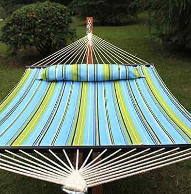 Double Hammock Quilted Fabric Detachable Pillow Spreader Bar Heavy Duty Outdoor for sale  USA