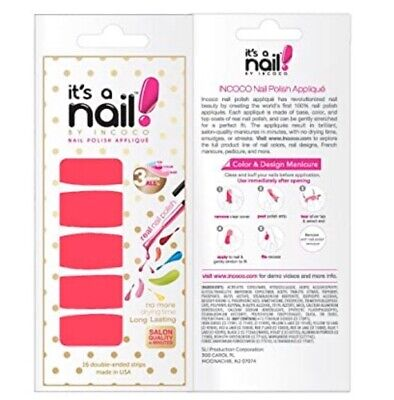 """INCOCO Nail Polish Strips, """"Power Pink"""" 16 Double-Ended Strips"""