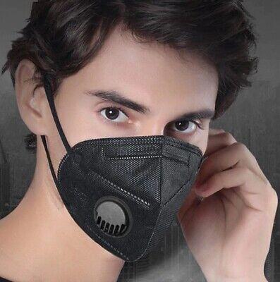 5x Stück (FFP2) KN95 SCHWARZ mit VENTIL Atemschutzmaske Mundschutz Maske Filter