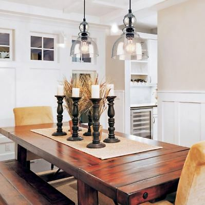 Pendant Lighting Fixture 2 Hanging Lights Kitchen Island Modern Industrial (Clear Glass Pendant Lights For Kitchen Island)