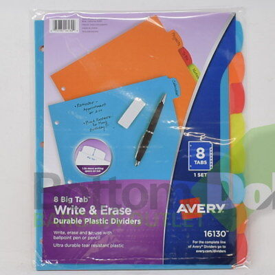 Avery Big Tab Write And Erase Durable Multicolor 8-tab Plastic Divider 2 Packs