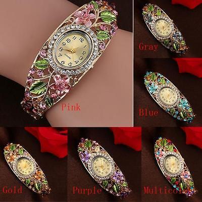 HOT Fashion Bangle Crystal Flower Bracelet Quartz Women Watch Woman Wristwatch