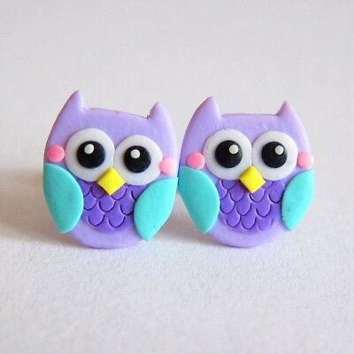 Halloween Costume Purple Owl Small Girls Stud Cute Earrings Jewelry Gifts Ideas