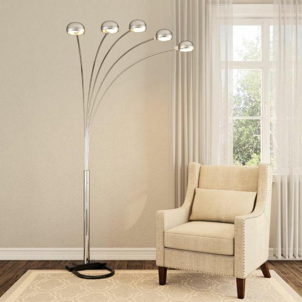 Floor Standing Arc Lamp Tall Arm Mood Lighting Dimmer Readin