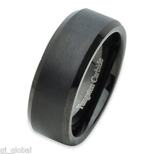 Tungsten-Carbide-Mens-Comfort-Fit-Wedding-Band-Ring-Black-IP-Brushed-Center-8mm