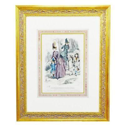 19th Century Paris Fashion Color Engraving Reproduction