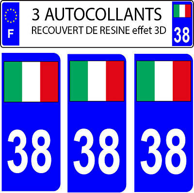 3 Stickers Car Registration Plate Doming 3D Resin Flag Italy N° 38