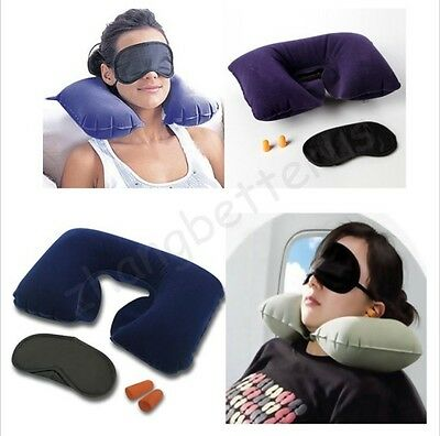 Inflatable Color Random  Flight Pillow Neck U Rest Air Cushion+ Eye Mask+Earbuds