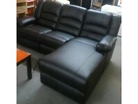 BLACK LEATHER CORNER RECLINER SOFA