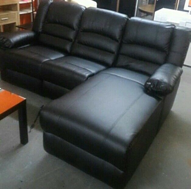 Black Leather Corner Recliner Sofa