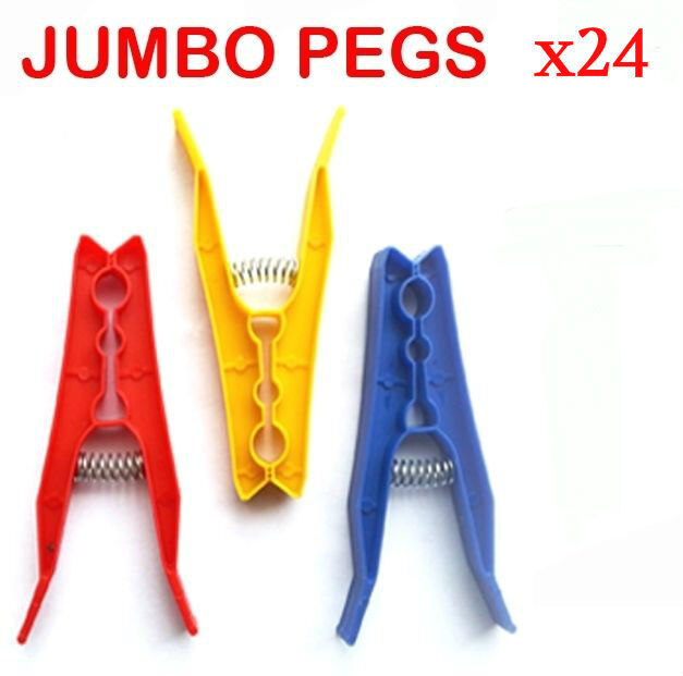 24 Plastic Spring Loaded Washing Line Clothes Pegs,Rotary Air Dryer Storm Pegs
