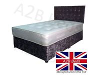 Crush Velvet Double Divan Bed = £229! (base, mattress + headboard) & FREE DELIVERY!