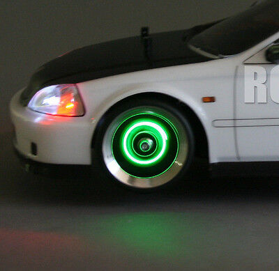 1/10 RC Car Drift LED WHEEL LIGHTS GREEN L.E.D Rotors Lights + Battery included