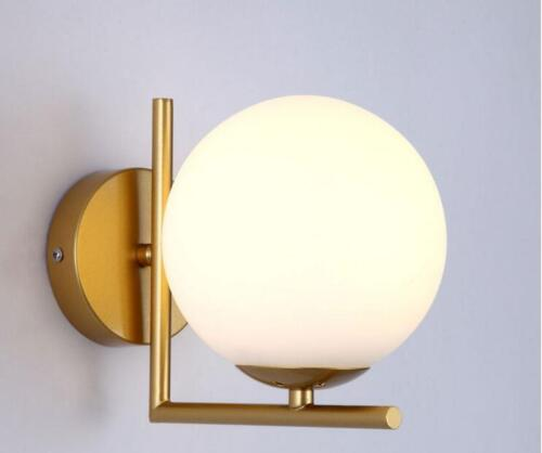 Modern Wall Lamp Single White Globe Glass Shade Wall Sconce