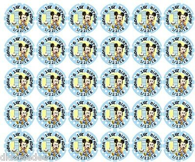 108 Mickey Mouse 1st First Birthday Hershey Kiss Labels Stickers Personalize