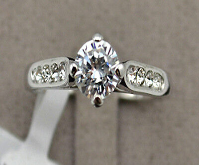 1 Ct Diamond Sterling Silver Classic Engagement Wedding Ring for Women