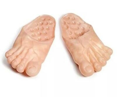 Jumbo Bare Feet Foot Vinyl Clown Big Slippers Ogres Hobbit Caveman Costume - Costume Clown Shoes
