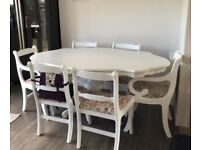 Vintage, shabby chic dining table & six chairs