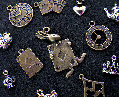 12 pc Alice in Wonderland Pendants Charms Bronze Silver Jewelry Rabbit Vintage