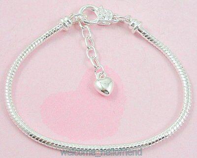 Snake Bracelets (10pcs Silver Lobster Clasp Snake Chain Charm Bracelets Fit European Beads)