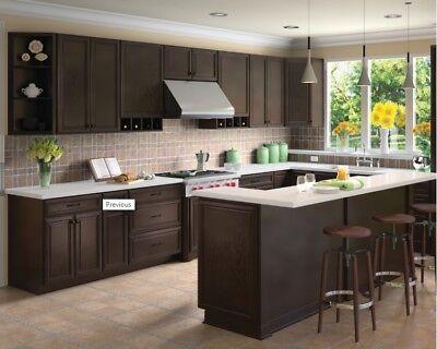 Forever Mark Kitchen Cabinets K-Espresso Glaze All Wood Sale KE6