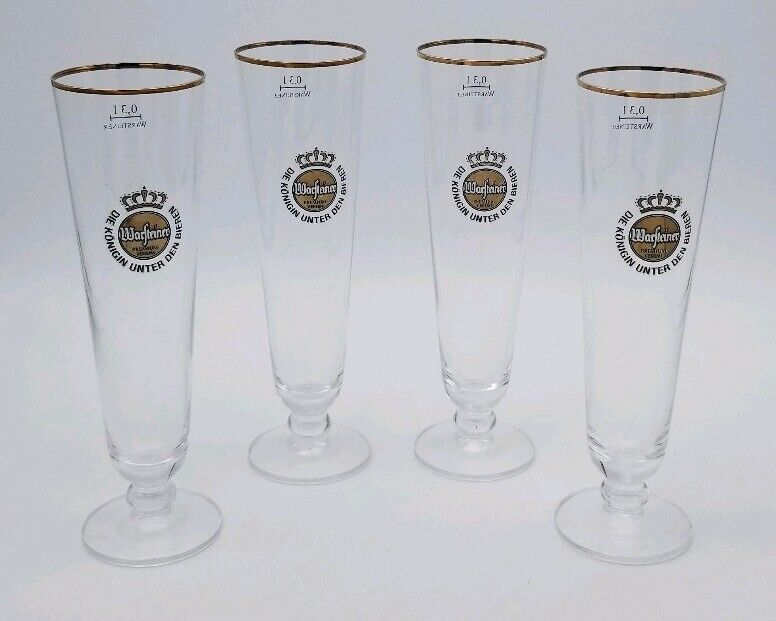 Set of (4) Warsteiner German Beer Glasses 0.3 Liter Tulip Stemmed Gold Rim