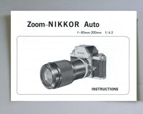 Nikon Zoom-Nikkor Auto 80mm-200mm F4.5 Instruction Manual original