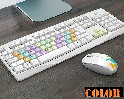 Fashion Rainbow Color Key 2.4GHz Wireless Keyboard and Mouse Set For PC Laptop.